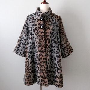 Luii Leopard Print Wool Blend Swing Coat Lg